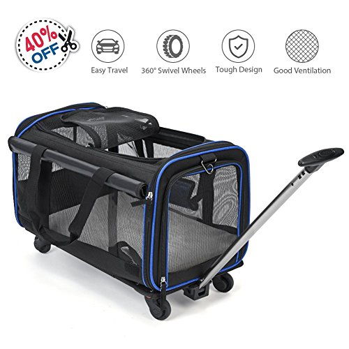 YOUTHINK Pet Wheels Carrier, Soft-Sided Travel Rolling Carrier Pet Stroller Small Size Pets up to 25 lbs Removable Wheels Extendable Handle Fleece Bed, 20'' x 13'' x 12'', Black by YOUTHINK (Image #7)