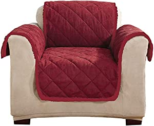SureFit Soft Suede/Sherpa Pet Throw - Chair Slipcover - Burgundy/Burgundy
