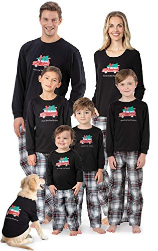 PajamaGram Cute Christmas Family Pajamas - Holiday Plaid, Red/Black, Baby, 12M
