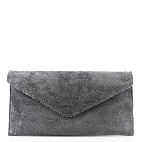 Leather With Party Clicktostyle Bags Suede Dark Italian Fancy Straps Women Chain Real Prom Grey Clutch nrHvqWIHT