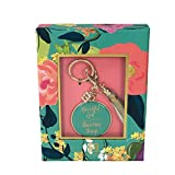 Mary Square Beautiful Girl Inspirational Key Chain Bag Charm,Teal