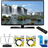 Samsung 65 inch Full HD 1080p 120hz Smart LED HDTV (UN65J6200) with Durable HDTV and FM Antenna, 2x 6ft High Speed HDMI Cable Black & Universal Screen Cleaner for LED TVs Large Bottle