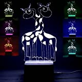 3D Optical Illusion Night Light Led 7 Colors Changing Desk Lamp Home Decor Cute Giraffes Animal Kids Nightlight