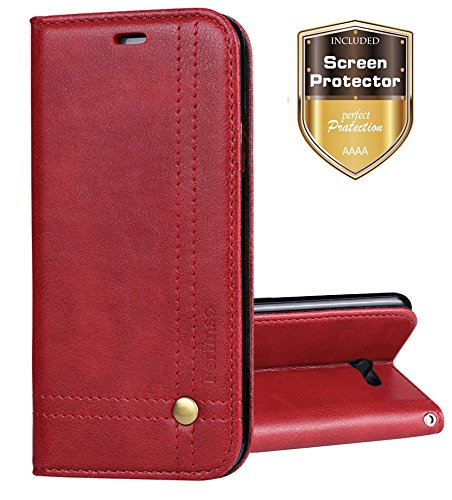 For Samsung Galaxy J7 2017 / J7 V / J7 Prime / J7 Perx / J7 Sky Pro / Galaxy Halo Case, Ferlinso Elegant Retro Leather with [SCREEN PROTECTOR] Cover Stand Magnetic Closure Case Cover-Red (Cow Leather Cell Phone)