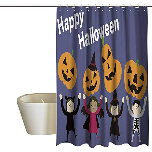 (Kingdle Shower Curtains Fabric Extra Long Halloween Party Bathroom Accessories 69