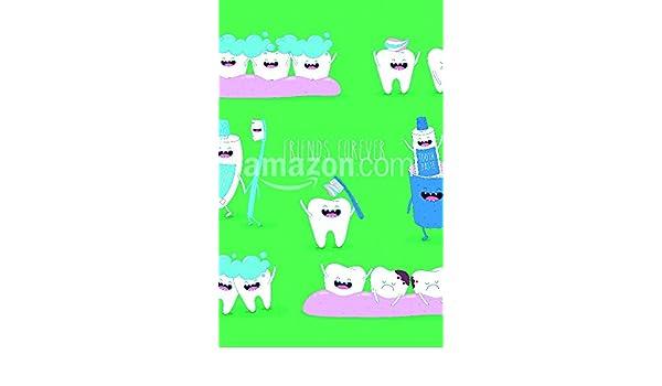 Divertido Dientes Juego de pasta de dientes y cepillo de dientes que son amigos para siempre. Vector illustration. Póster Impresión, 11