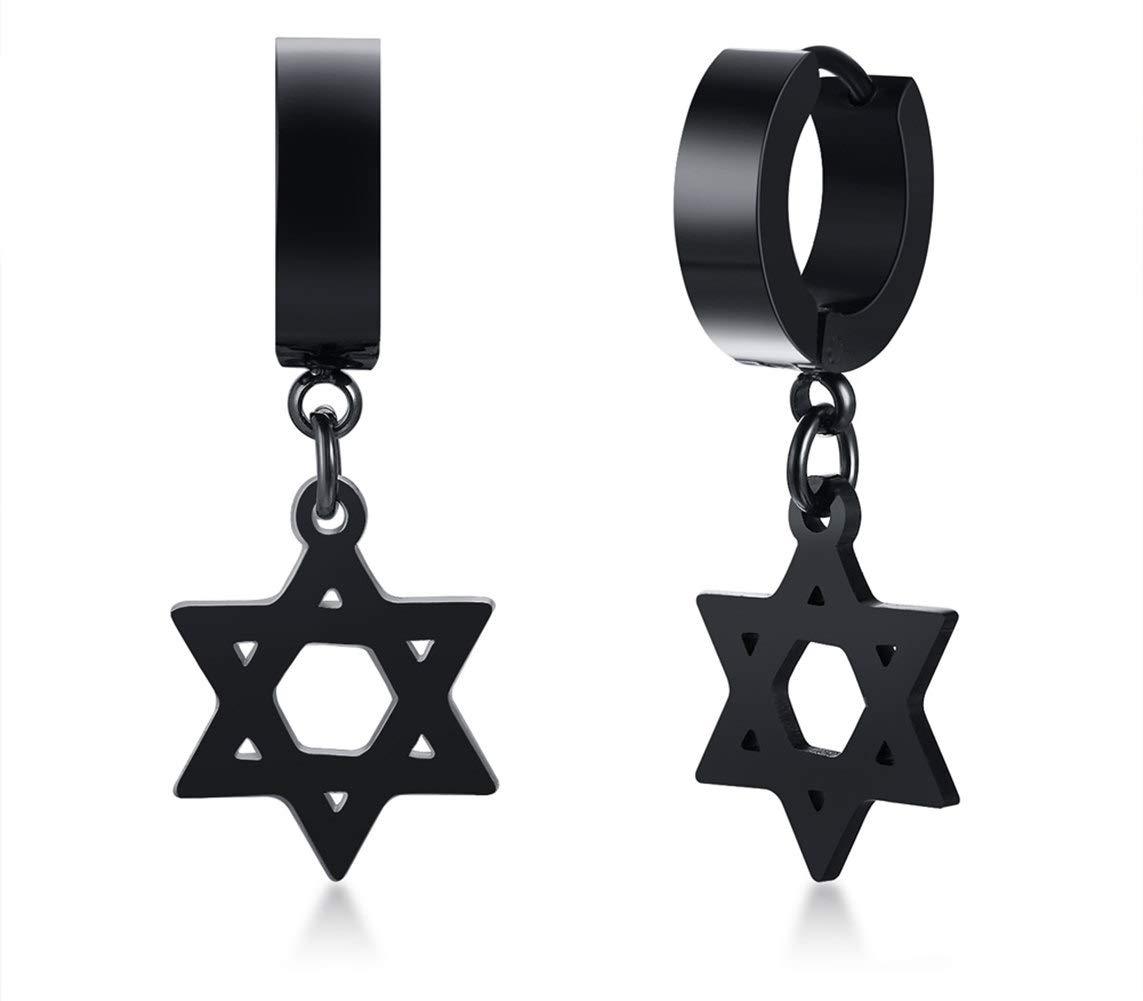 Hexagram Spiritual Amulet Dangle Hoop Earrings, Gothic Black Stainless Steel Star of David Symbol Drop Hoop Earrings, Graduation Gifts for Boy Men