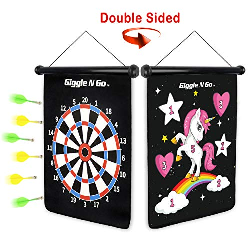 - GIGGLE N GO Unicorn Gifts for Girls - Unicorn Toys Like Our Magnetic Dart Board are a Hit at Any Unicorn Party - This Fun Girls Gift Includes 6 Safe Darts, 2 Games and Hangs Anywhere Fast -(Unicorn)