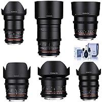 Rokinon Cine DS Lens Kit for Canon EF Mount Consists of 14mm T3.1 WA, 24mm T1.5 Lens, 35mm T1.5 Lens, 50mm T1.5 Lens, 85mm T1.5 Lens, 135mm T2.2, Cleaning Kit