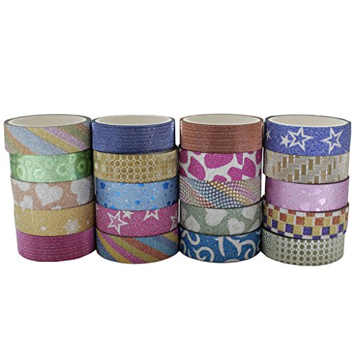 20 x Rolls of Decorative Washi Masking Tape Set by Curtzy – Colourful Glitter Rainbow Tape for Craft Projects DIY Crafts Scrapbooking  Gift Wrapping …