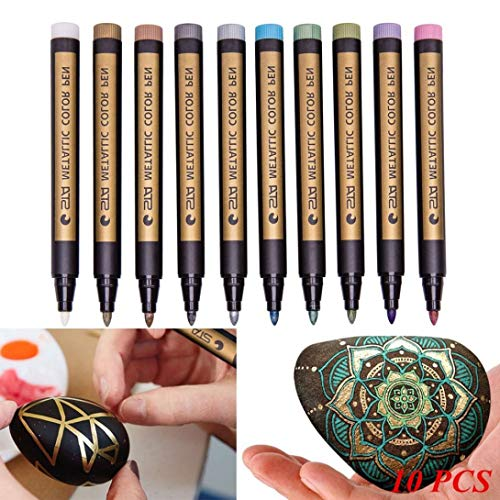 Metallic Marker Pens, Creazy 12 A2PC Metallic Markers Paints Pens Art Glass Paint Writing Markers DIY Card Making by Creazy (Image #4)