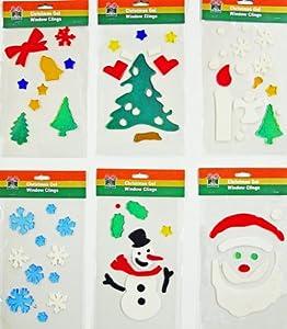 christmas window clings 6pk of holiday gel art - Window Clings