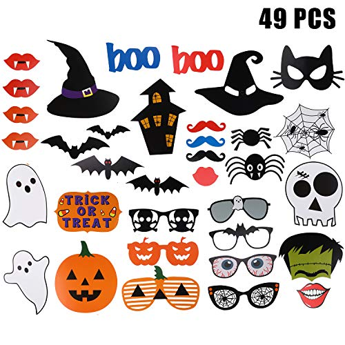Easy Diy Halloween Props (49 Sets Halloween Photo Booth Props DIY Photo Booth Prop Kit Halloween Party Photo Props with Wooden Sticks for Party)