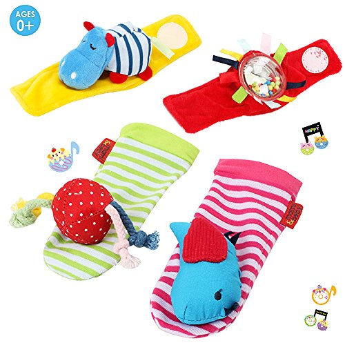 UiiQ 4 Packs Baby Wrist Rattle and Soft Foot Finder Sock Set Early Educational Development Toy Best Gift for Infant ( Hippos & Moving Beads & Bird & Small Ball )