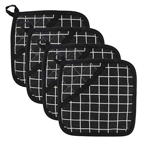 VASSN Pot Holders Kitchen Pocket Mitts 4 Pack Heat Resistant Machine Washable Hot Pad Safe for Cooking and Baking Potholders with Pockets (Black & White Plaid)