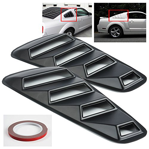 Ford Rear Quarter - ModifyStreet 05-14 Ford Mustang 1/4 Quarter Retro Style Rear Window Louvers - Black