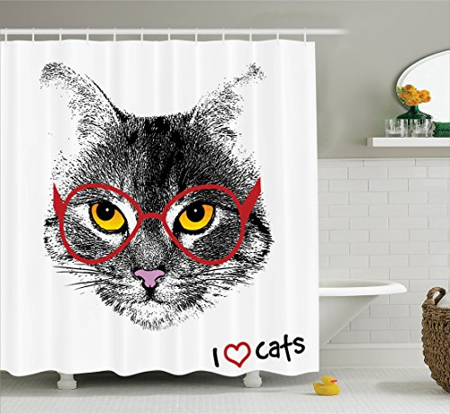 Cat Lover Decor Shower Curtain Set By Ambesonne, Wise Nerd Cat With Glasses Judging The World Humor Digital Style Art Illustration, Bathroom Accessories, 69W X 70L Inches, Black White - Glasses And Cat Black White With