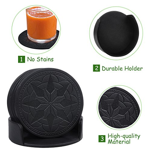 Large Product Image of Drink Coasters,365park PU Leather Coasters Set of 6 with Holder for Glasses,Good Grip, Deep Tray,Black