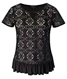 Chicwe Women's Plus Size Stretch Trendy Lace Top with Neck Keyhole Ruffle Hem Black 4X
