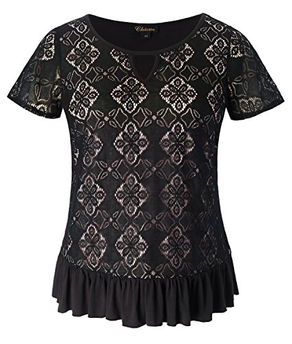 Chicwe Women's Plus Size Stretch Trendy Lace Top with Neck Keyhole Ruffle Hem Black 4X by Chicwe