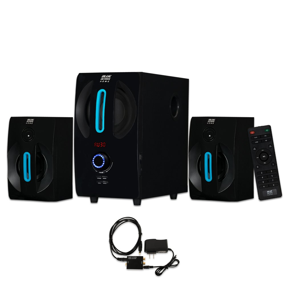 Blue Octave B22 Home 2.1 Powered Speaker System with USB / SD and Optical Input Multimedia