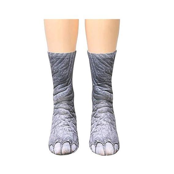 Naisicatar 1 pareja creativa 3D patas de los animales impresión del patrón unisex Calcetines divertidos para