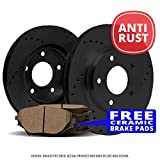 Rear Rotors Ceramic Pads Black Zinc Drill 2011 2012 Ford F250 Super Duty