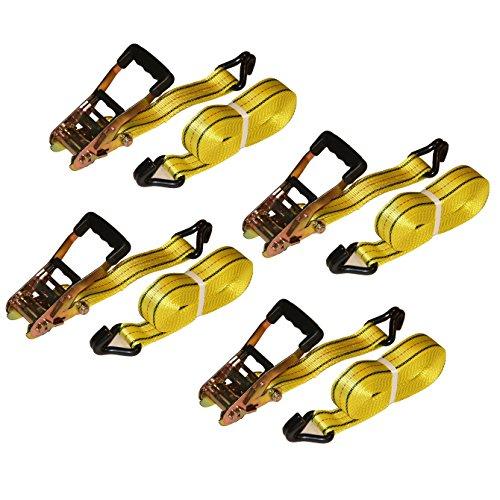 """2"""" X 27' HFS 10,000 Lb Heavy-duty Tie Down - J Hook - Rubber Coated Handle (4 Pk)"""