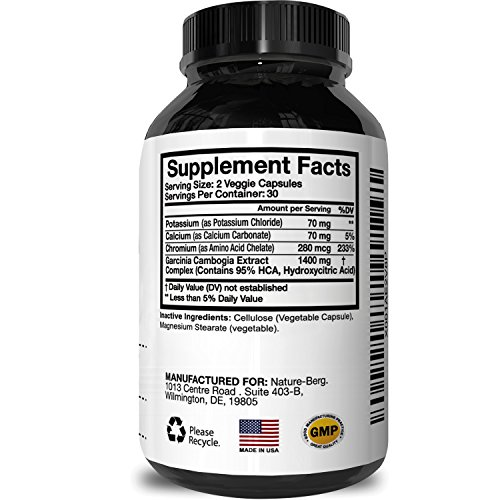 Garcinia Cambogia 95 HCA – Potent Weight Loss Pills For Men And Women – Pure Workout And Focus Enhancer – Potent Appetite Control – Natural Garcinia Cambogia Extract To Burn Belly Fat By Nature Berg
