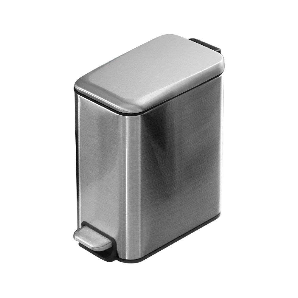 Tchin Rectangular with Cover Descending Pedal Stainless Steel Trash can Bathroom Bedroom Toilet Home Narrow (Color : Gray)