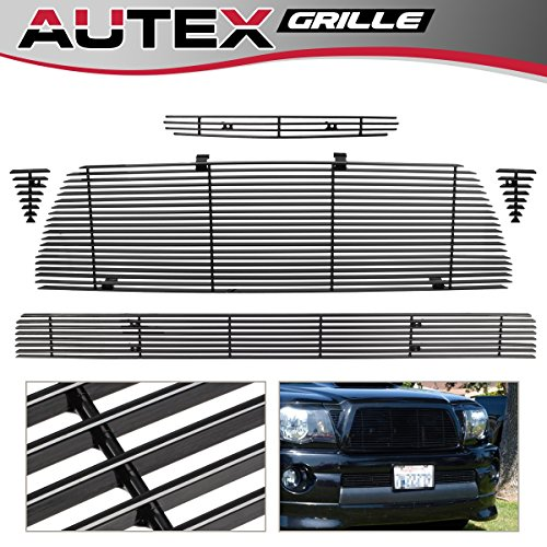 AUTEX T87742H Main Upper Grille + Hood Scoop Grill +Lower Bumper Black Aluminum Billet Grille Compatible With Toyota Tacoma TRD Sport 2005 2006 2007 2008 2009 2010 2011 - Toyota Grille Tacoma Billet Bumper