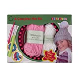 Loom Knitting Pattern Kit For Beginners - Hat Set - Pink Hat & White Pompom - BambooMN