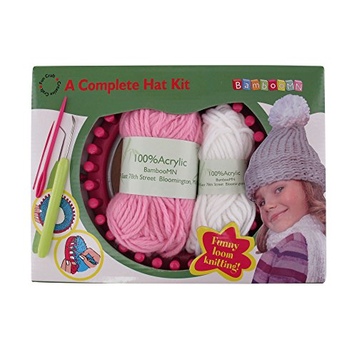 - Loom Knitting Pattern Kit For Beginners - Hat Set - Pink Hat & White Pompom - BambooMN