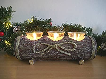 homezone rustic ornamental log candle holder tea light holder table centre piece home decoration ornamental candle - Christmas Log Candle Holder Decorations