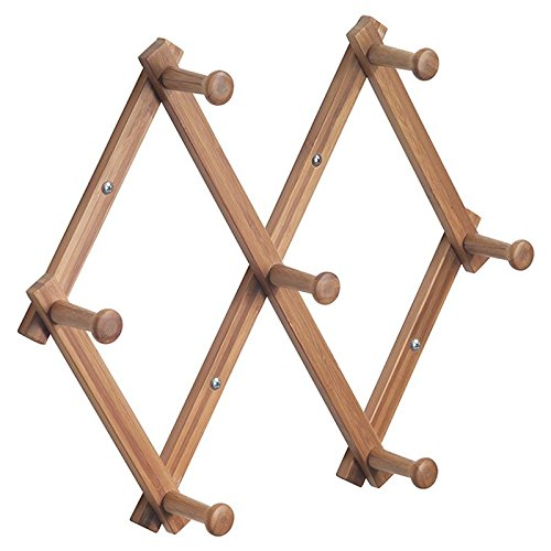 Hanging Pegs - Wall Mount Accordion Style Expanding Storage Rack – 7 pegs Hanging Hooks for Jackets, Coats, Hats, Scarves and Mugs Sturdy Natural Bamboo (1 Rack)