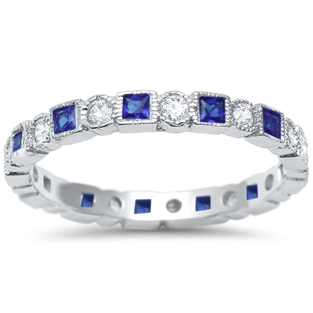 Oxford Diamond Co Antique Style Simulated Blue Sapphire & CZ Stackable Eternity Band .925 Sterling Silver Ring Sizes 9