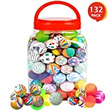 ArtCreativity High Bounce Super Balls Set (Pack of 132)   Includes Plastic Tube for Easy Storage   Variety of Colorful Designs   Best Party Favor and Fun Carnival Prize   For Boys and Girls Ages 3+