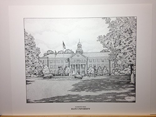 Elon University pen and ink 11''x14'' print by Campus Scenes