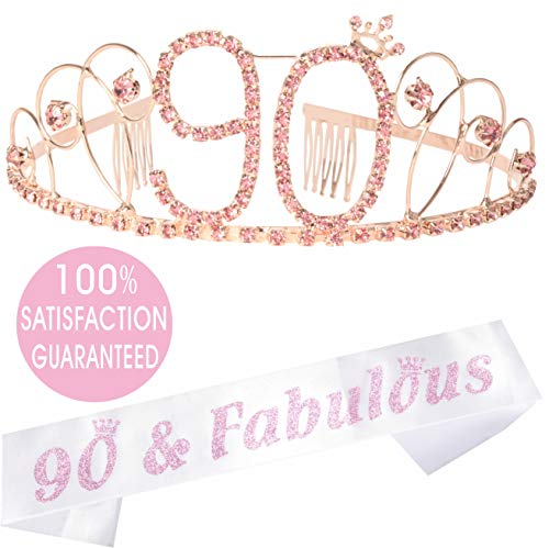 90th Birthday Sash - 90th Birthday Tiara and Sash Pink