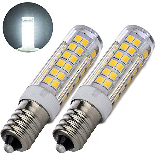 E11 JD LED Bulb 75W 100W Halogen Bulbs Replacement,Dimmable 6W E11 Mini Candelabra Base 110V 120V 130 Voltage,Pack of 2 (6 Watt, Daylighting 6000K) (Mini Candelabra E11 Base)