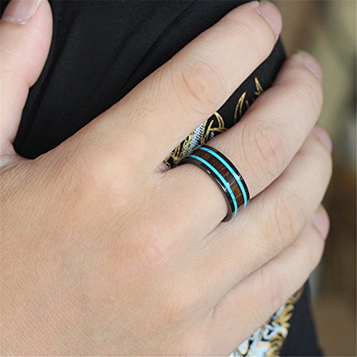 Men Women 8mm Black Ceramic Ring Vintage Wedding Engagement Band with Koa Wood Two Lines Solid Turquoise Size 11 by Fashion Month (Image #4)