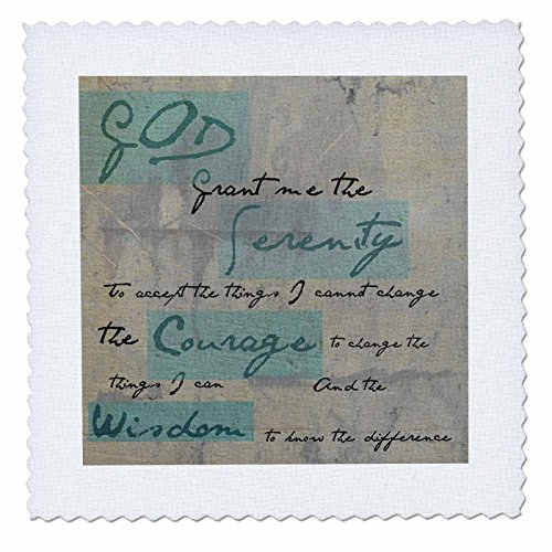 3dRose Serenity Prayer - Inspirational - Spiritual - Quilt Square, 6 by 6