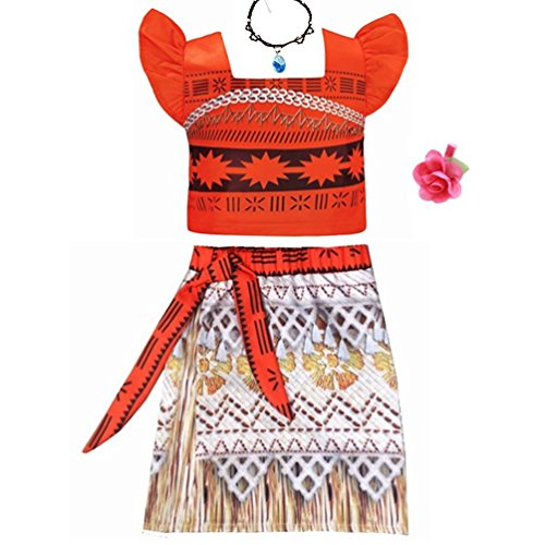 Rainawby Kids Little Girls Princess Two-Piece Dress Ruffle Sleeve for Cosplay Moana Costume Outfit with Necklace for Halloween Christmas Party Dress up (3T, Orange)