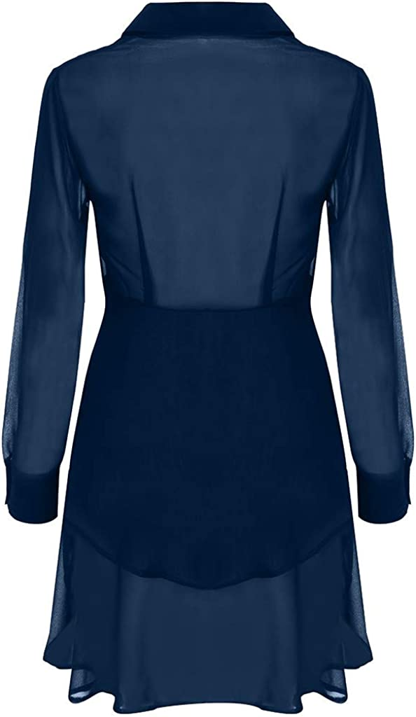 UULIKE Women V-Neck Long Sleeve Mini Dress Tops Casual Button Ruffles Solid Loose Sweater Blouse with Pockets Holiday Evening Party Cocktail Beach Blouse Dresses for Ladies