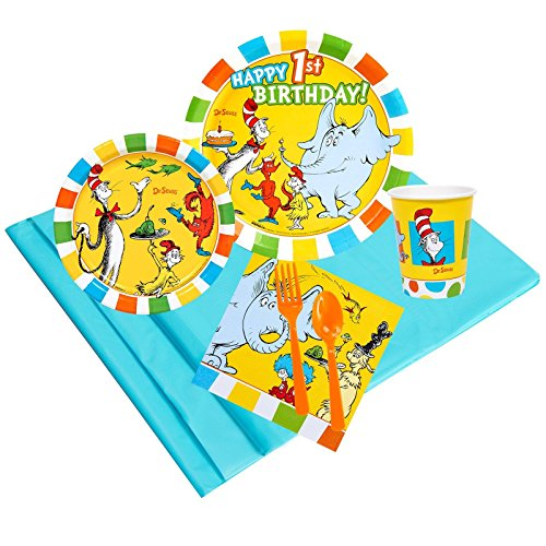 Dr Seuss 1st Birthday Party Supplies - Party Pack for 24 Guests -