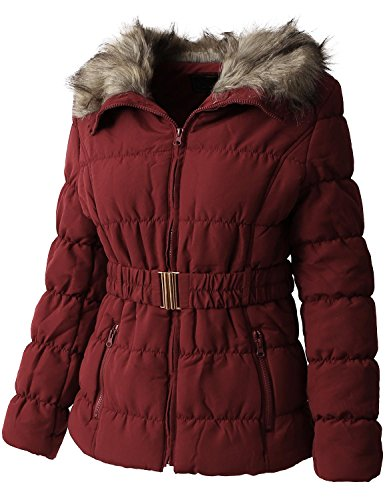 (Ma Croix Womens Quilted Faux Fur Lined Belted Coat (X-Large/gj1133_red))