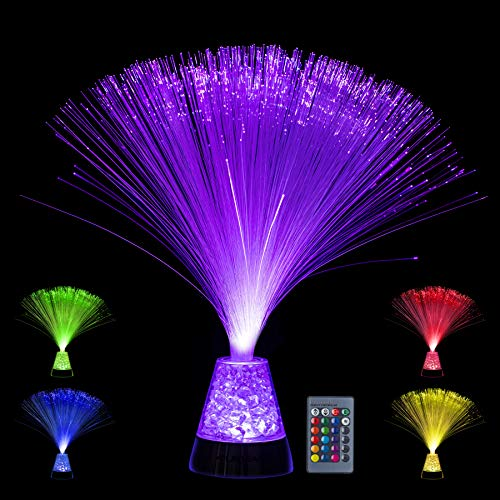 Playlearn Fiber Optic Lamp ' Color Changing Crystal Base with Remote – USB/Battery Powered ' 14 Inch Fiber Optic…