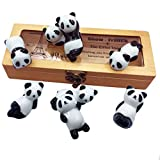 VANCORE 8 Pcs Cute Panda in Box Set Ceramic Ware Chopsticks Rest Stand Rack