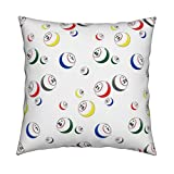 Roostery Bingo Eco Canvas Throw Pillow Bingo Balls by Dd BAZ Cover and Insert Included