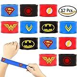 Dissytoys 12 PACK Superhero Slap Bracelets for Kids Boys Girls Birthday Party Supplies Favors